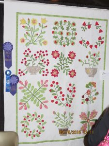 BEST OF SHOW 2016, BEST HAND APPLIQUED & FIRST PLACE SMALL BED APPLIQUED OR MIXED TCEHNIQUE - BRENDA HANES